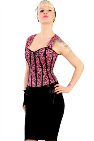 Corset bodice top Oi Oi Pink Leopard Print by Hell Bunny Another Way of Life