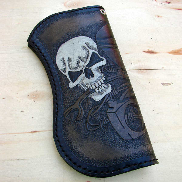 Bifold biker wallet with skulls