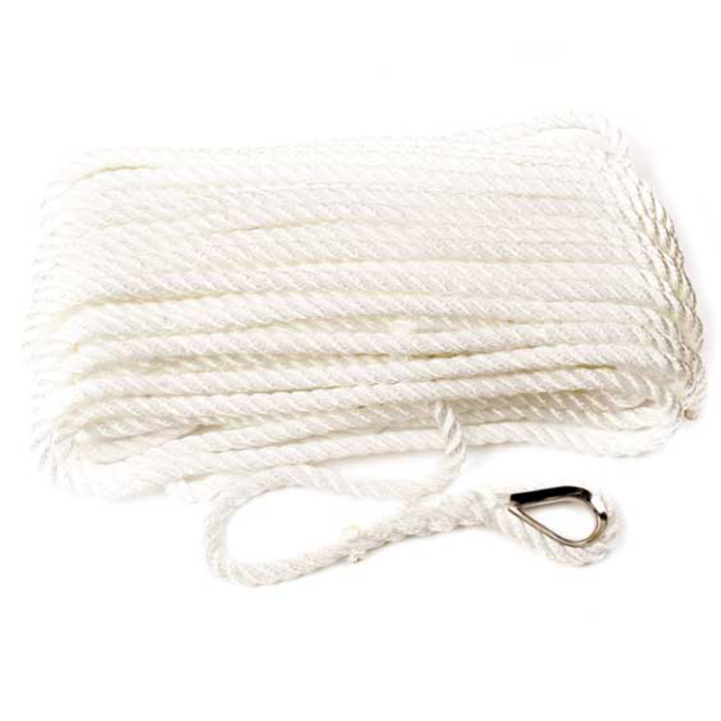 Pre-Spliced 3 Strand White Anchor/Mooring Line Rope with Thimble Eye