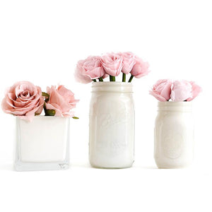 Mason Jar Set painted jars with Ivory paint decorated with pink roses
