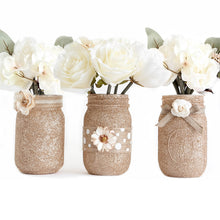 Load image into Gallery viewer, Mason Jar Set Of 3 - Glitter Decorated Jars - Center Piece For Weddings
