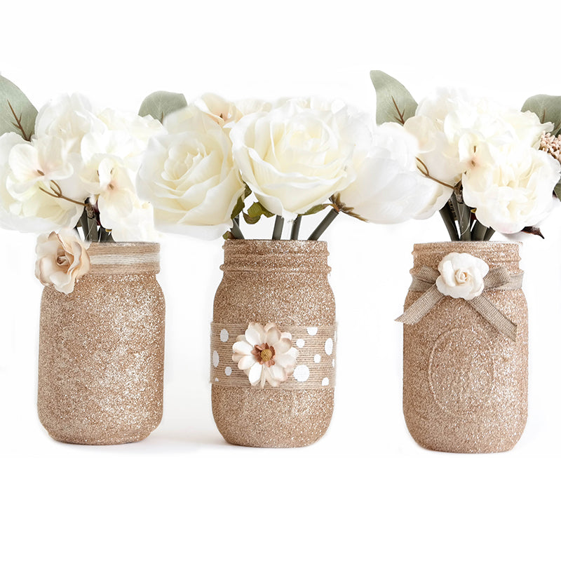 Mason Jar Set Of 3 - Glitter Decorated Jars - Center Piece For Weddings