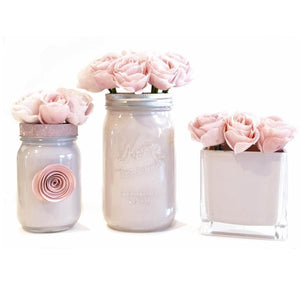 Mason Jar Painted and decorated with Pink roses and paper flower