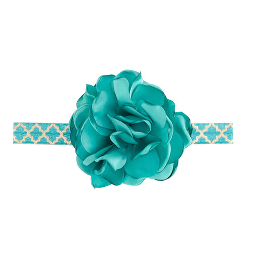 Headband With Fabric Flower And Stretch Band Dark Teal