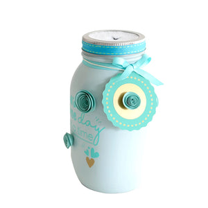 Mason Jar Decorated Distress Painted Tissue Holder Handmade - One Day At A Time