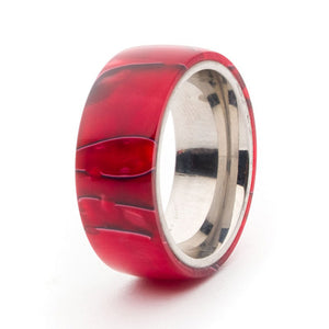 Acrylic and Stainless Steel Comfort-Fit Rings, Crimson