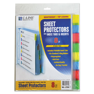 "ESCLI05580 - Sheet Protectors With Index Tabs, Assorted Color Tabs, 2"", 11 X 8 1-2, 8-st"