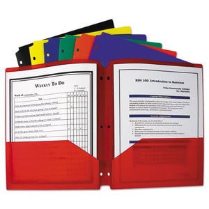 ESCLI33930 - Two-Pocket Heavyweight Poly Portfolio Folder, 3-Hole Punch, Letter, Assorted