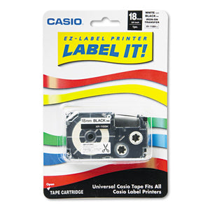 ESCSOXR118BKS - Label Printer Iron-On Transfer Tape, 18mm, Black On White