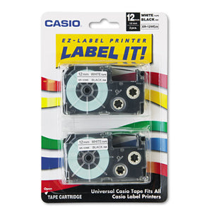 ESCSOXR12WE2S - Tape Cassettes For Kl Label Makers, 12mm X 26ft, Black On White, 2-pack