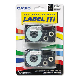 ESCSOXR18WE2S - Tape Cassettes For Kl Label Makers, 18mm X 26ft, Black On White, 2-pack