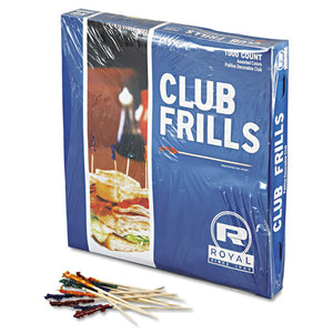 "ESRPPR812W - Club Cellophane-Frill Wood Picks, 4"", Assorted, 10000-carton"
