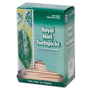 "ESRPPRM115 - Mint Cello-Wrapped Wood Toothpicks, 2 1-2"", Natural, 1000-box, 15 Boxes-carton"