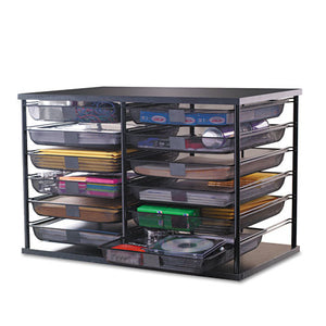 "ESRUB1735746 - 12-Compartment Organizer With Mesh Drawers, 23 4-5"" X 15 9-10"" X 15 2-5"", Black"