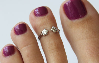 CZ Flower Sterling Adj Toe Ring