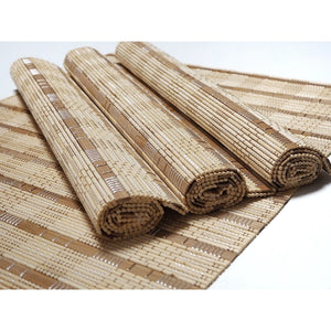 Handmade Wide Mix Natural Bamboo Placemats (Set of 4) - Color Neutral - Meraki Cole Company