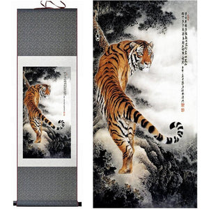 Asian Tiger Silk Art Painting, Meraki Cole Company