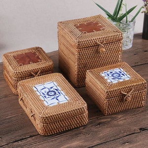 Woven Rattan Tea Storage Box - Meraki Cole Company