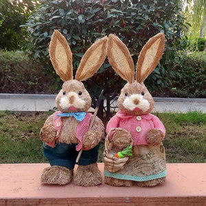 Handmade Natural Straw Garden Rabbit - Meraki Cole Company