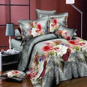 Colorful Peony Rose Flower Cotton 4Pcs Duvet Cover Flat Sheet Pillowcase Bedclothes King Size High Quality