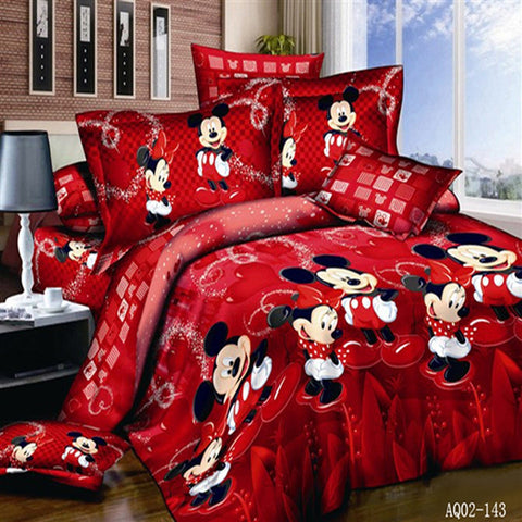 100% Cotton Red Color Mickey Mouse Quilt/Duvet Cover Bedding set