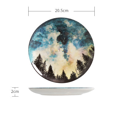 Nordic style 8 inch Night sky pattern Dinner Plate set