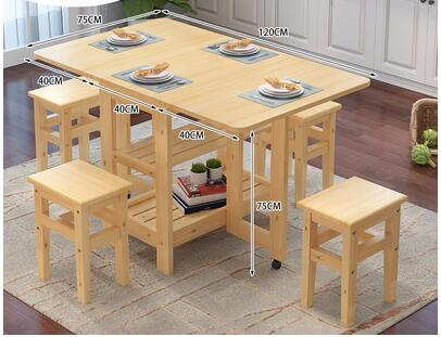 Solid Wood Folding Dinning Table Set Folding