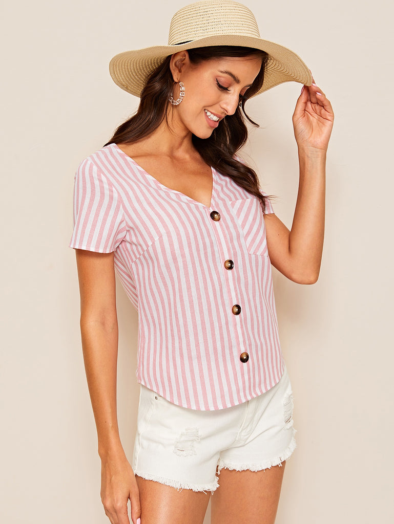 Single Pocket Button Up Striped Blouse - Bentley York