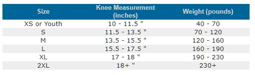 Knee Pad Sizing Chart