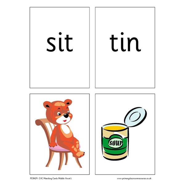 CVC Words Matching Cards - Middle Vowel i