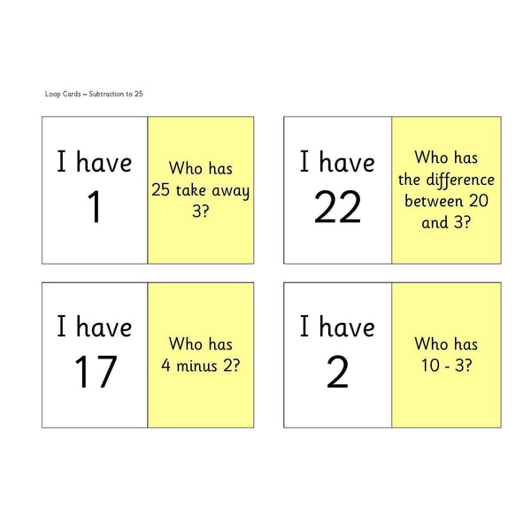 Subtraction to 25 Loop Cards