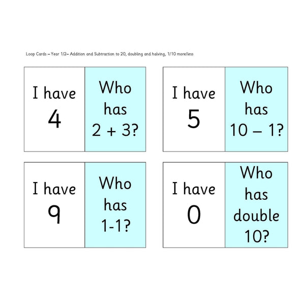 Year 1 and 2 Loop Cards
