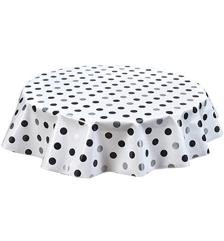 Freckled Sage Round Tablecloth Big Dot Silver & Black