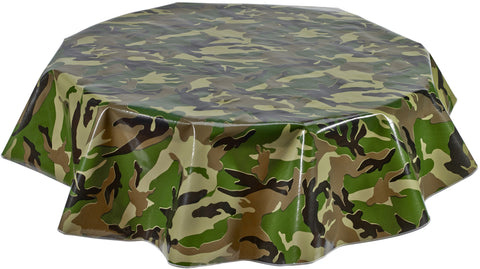 Freckled Sage Round Oilcloth Tablecloth Camo
