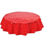 Freckled Sage Round Tablecloth White Dot on Red