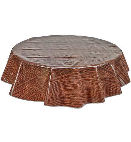 Freckled Sage Round Oilcloth Tablecloth Faux Bois Teak