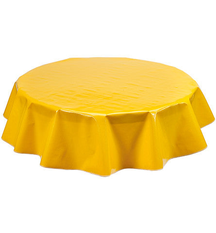 Freckled Sage Round Oilcloth Tablecloth Solid Taxi Yellow