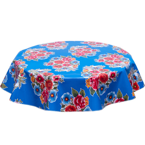 FreckledSage.com Round oilcloth tablecloth Flowers on Blue