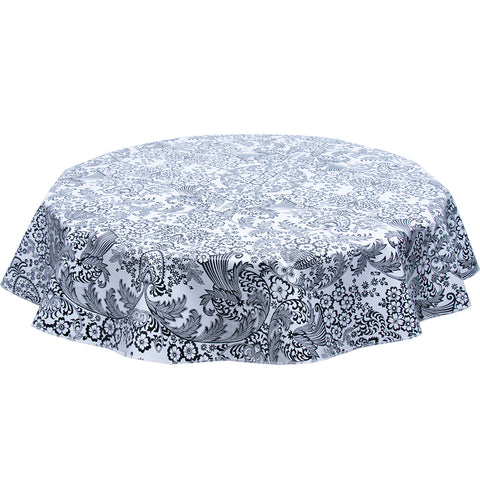 Round Toile Black Oilcloth Tablecloth