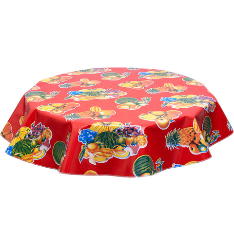 Freckledsage.com Round Tablecloth Tropical Fruit Red