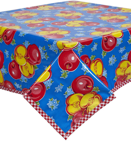 Freckled Sage Oilcloth Tablecloth Apples Blue