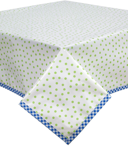 Freckled Sage Oilcloth Tablecloth Dot Lime with Blue Gingham trim