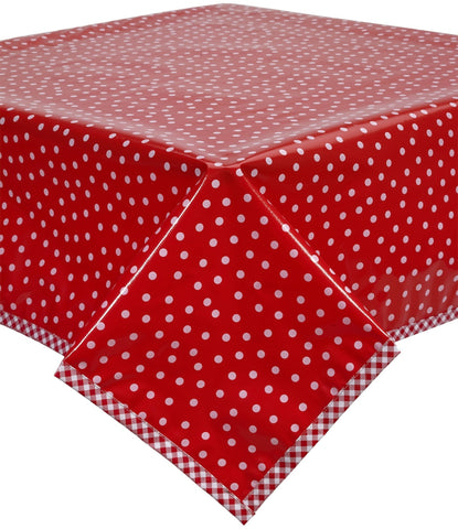 Freckled Sage Oilcloth Tablecloth White dot on red