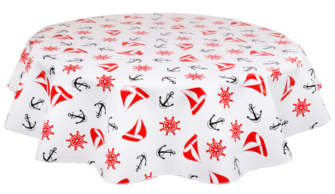Round Oilcloth Tablecloth in Nautical Red & Black