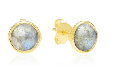 Labradorite, Gemstone, 18ct Gold Plated, Earrings, Stud, Rodgers and Rodgers, Handmade, Gold