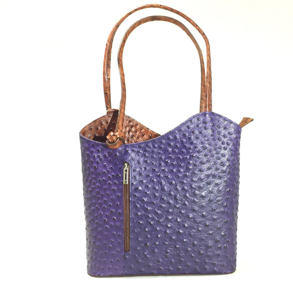 Italian, shoulder bag, backpack, leather, ostrich textured, blue, bag by Italian Bag and Moda
