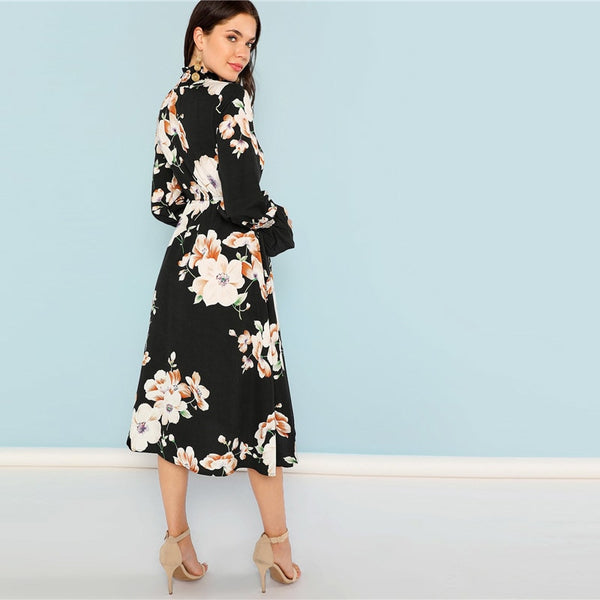 Black Print Floral Dress - CocoLuxe11