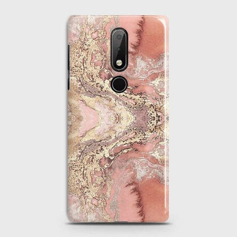 Trendy Chic Rose Gold Marble 3D Case For Nokia 7.1