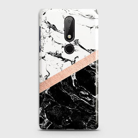 3D Black & White Marble With Chic RoseGold Strip Case For Nokia 7.1