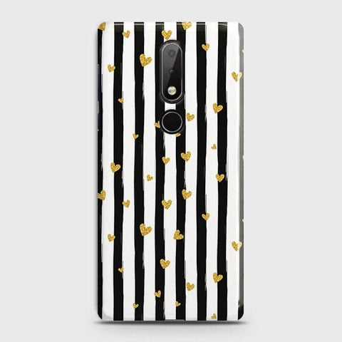 Trendy Black & White Strips With Golden Hearts Hard Case For Nokia 7.1